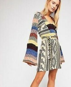 NWT Free People Patchwork Sweater Dress Med
